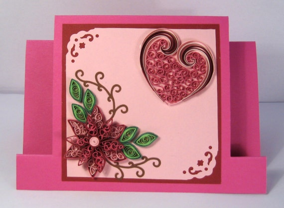Valentines day card birthday card mothers day valentines day card birthday card mothers day card thinking of you quilling flowers design quilled heart bookmarktalkfo Choice Image