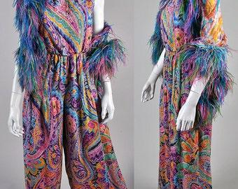 1970's Donald Brooks Palazzo Jumpsuit with feather boa Designer heaven rare