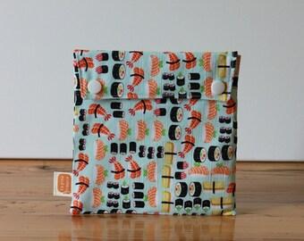Reusable sandwich bag, reusable snack bag, fabric bag with Sushis2 print [#166], eco friendly, no waste lunch box, washable