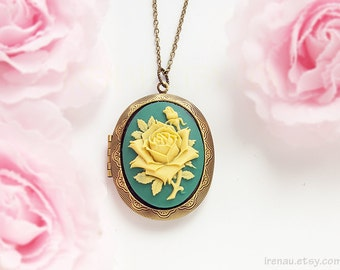 Rose cameo locket necklace, teal blue and yellow floral necklace oval locket large, vintage style victorian necklace photo locket pendant