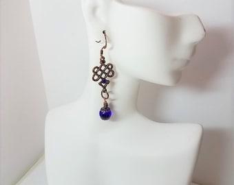 Earrings Cobalt Blue Glass & Copper