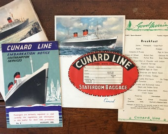 Vintage 50s Cunard Line Cruise Ship Memorabilia, Ephemera 1955 Voyage Cunard Line Cruise Ship