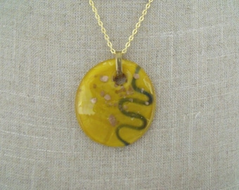 LIQUIDATION gold chain necklace glass pendant