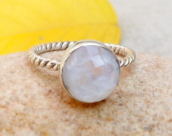 Rainbow moonstone ring sterling silver twisted band Moonstone birthstone ring Moonstone silver ring faceted stone round stacking ring