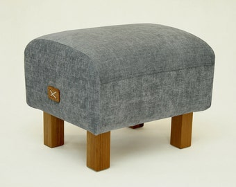 Ottoman Grey Upholstered Ottoman Bench Grey Seat Pouf Furniture Oak Legs Chair High Quality Gift