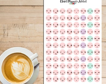 Kawaii Emoticon Planner Stickers | Emoticon Stickers | Emoji Stickers | Mood Tracker Stickers | Anxiety Tracker Stickers (S-015)