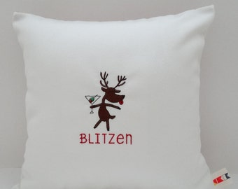 "BLITZEN REINDEER embroidered pillow cover Sunbrella natural front red ticking back indoor outdoor 14"" x 14"" Christmas throw Oba Canvas Co"