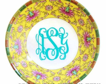 Monogrammed Jewelry Ring Dish - Floral Patterned