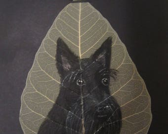 Hand Painted Scottish Terrier on Real Bodhi/Pepal Skeleton Leaf
