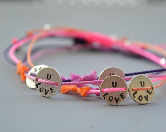 Love bracelet, Tiny handstamped, Love, Frienship, Bracelet, LOVE U Bracelet, Adjustable, 13 colors, Sisters, Mother, gift