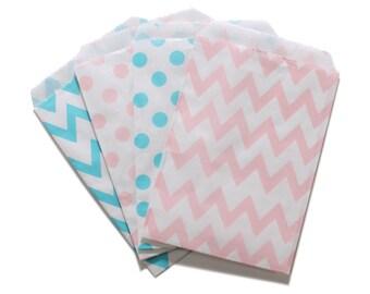 Party Favor Bag, Paper Favor Bags, Light Blue and Light Pink Polka Dot Chevron Paper Favor Bags, Gender Reveal Favor, Baby Shower Favor Bags