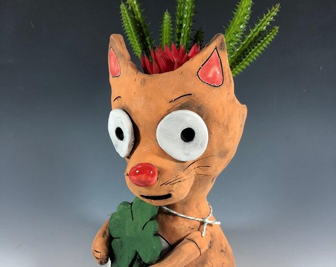 Clover Cat // Pothead // Ceramic // Planter // Cats // Small Sculpture // Ceramic // Home Office Decor // Handmade // Irish // Seconds //