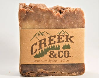 Pumpkin Spice soap, hot process, rustic, artisan, kitchen soap, homemade soap, shower soap, handmade soap, bar soap, bath soap