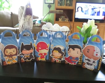 Justice League Inspired Gable Favor Boxes Set of 30 with Free Shipping
