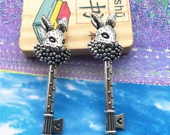20pcs 50x15mm antiqued silver rabbit key pendant charms findings