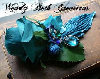 Azul Rose Hair Clip Fascinator - Vegan, Wedding, Steampunk, Tribal Fusion, Belly Dance, Pin Up, Teal, Blue, Rhinestone, Rose