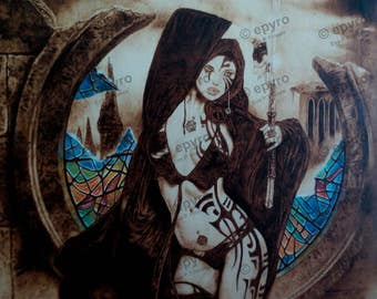 Illustration by Luis Royo Pirograbada by hand in Poplar wood.
