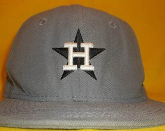 Vintage Houston Astros Baseball Cap Youth New Era MLB Cooperstown Collection Fitted Hat Baseball Caps Kids Size 6 3/8 T2 F7097