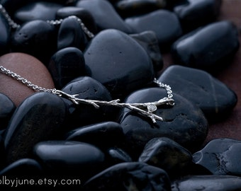 Split Branch Necklace with Moissanite Stone   Sterling Silver Necklace   Nature Inspired