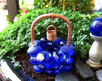 Fairy Garden Accessories, Wishing Well, Midnight Blue Skies Glass Drops, Copper & Glass Wishing Well, Outdoor Fairy Garden