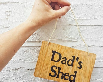 Dads Shed Sign   Oak Wood Sign   Wooden Door Sign   Garden Decor   Gift
