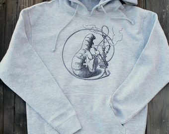 Who Are You? - Alice In Wonderland - Hookah Caterpillar - Heather Gray Hoodie - Premium Hooded Pullover Sweatshirt with Pocket - S,M,L,XL
