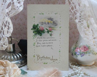 Antique Victorian Trade Card Embossed Happy Birthday Good condition