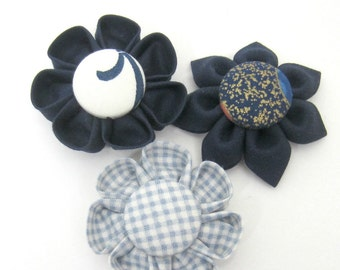 Set of 3 Flower Magnets in Blue, Fridge Magnets, Magnetic, Fabric Flower, Kanzashi Flower, Bulletin Board Magnet