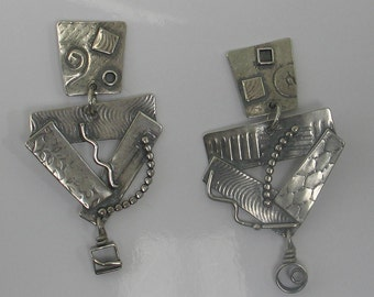 Sterling Abstract 2 piece Post