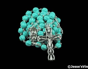 Catholic Rosary Beads Turquoise Blue Fluted Melon Silver Traditional Opague Czech Glass Five Decade Catholic Gift Womens Rosary