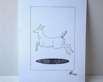 A3 Art Print. Wall Art. Illustration - Jumping Deer
