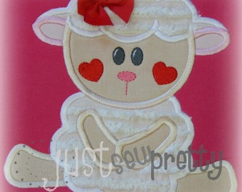 Cute Ewe Heart Cheeks Embroidery Applique Design