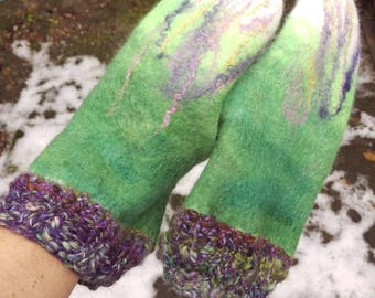 Felted mittens, wet-felted mittens, custom-order mittens, one-of-a-kind mittens