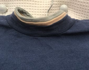 Vintage CARSON PIRIE Scott Women's Top Sweater Shirt Wool Italy Blue White