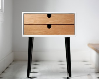White nightstand / Bedside Table,  Scandinavian Mid-Century Modern Retro Style with 2 drawers and legs made of oak wood