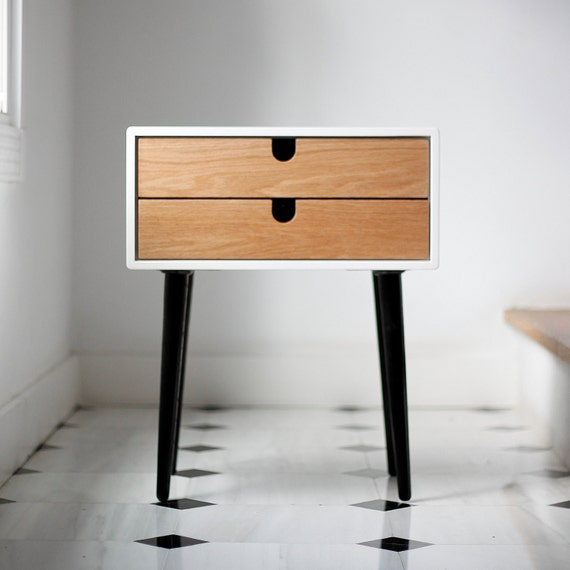 White Nightstand / Bedside Table, Scandinavian Mid Century Modern Retro  Style With 2 Drawers And Legs Made Of Oak Wood