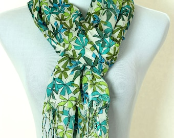Tropical Floral Scarf (Citrus Green)