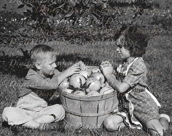 Boy and Girl with Citrus Fruit Vintage Photo - Grapefruit Orange Florida Grove - Digital Photo Image