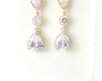 Rose Gold Bridal Earrings, Pink Gold Bridal Earrings, Rhinestone wedding earrings, rhinestone earrings, bridal jewelry, rose gold jewelry