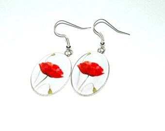 Earrings oval poppies