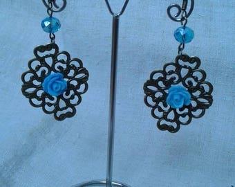 print and Blue Flower Earrings