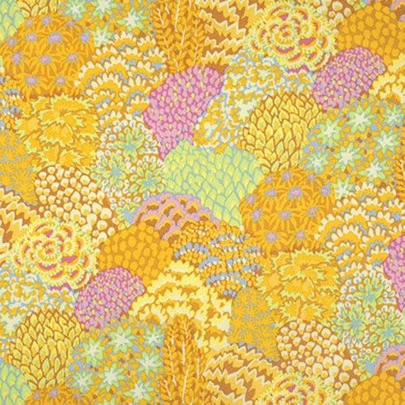 ORIENTAL TREES Yellow PWGP129  Kaffe Fassett Sold in 1/2 yard increments