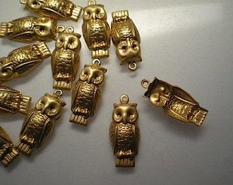 12 brass owl charms