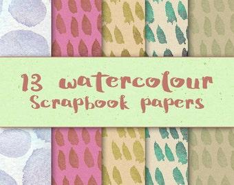 13 watercolour digital scrapbook craft papers 8x8 instant download