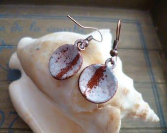 Earrings rustic - enamel on copper - copper discs - discs, copper enamel - enamel copper disc earrings