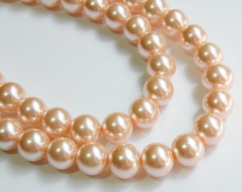Peachy Pink glass pearl beads round 14mm full strand 2003GL