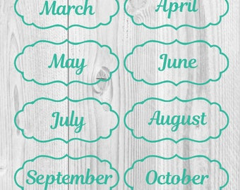 Monthly Decals in Scalloped Edge