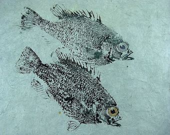 GYOTAKU fish Rubbing Two Rock Bass 8.5 X 11 quality Art Print Panfish Cottage Decor by artist Barry Singer
