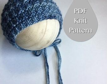 PDF Knit Pattern #0015  The Ethan Knit Bonnet, Newborn, Knit PDF Pattern, Tutorial, Knit Pattern, Beginner, Easy,Instruction,Newborn