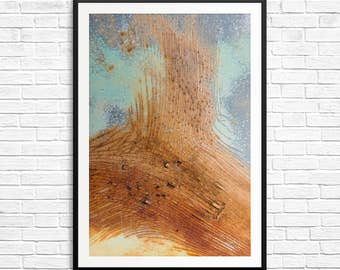 Rust art, rust photo, rust photography, abstract art, teal and orange, teal decor, teal art prints, orange wall art, rust and teal, posters